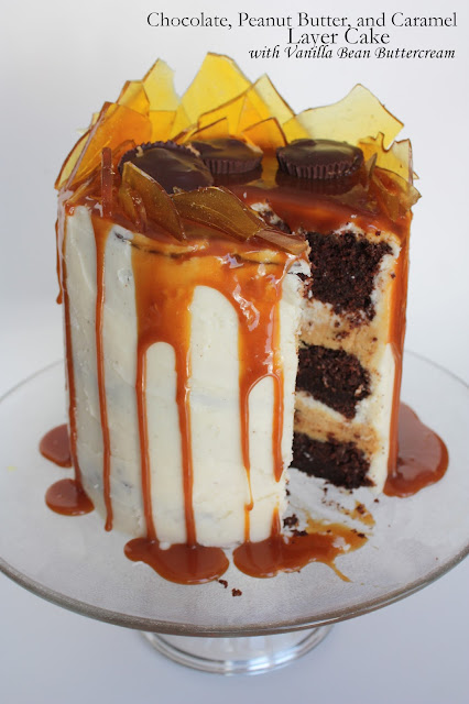 chocolate, peanut butter, and caramel layer cake with vanilla bean buttercream