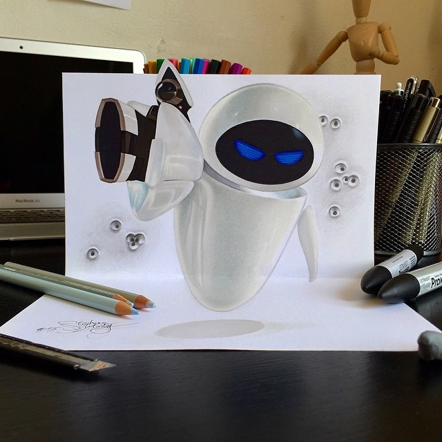 10-Eve-from-Wall-e-Stephan-Moity-2D-Drawings-Optical-Illusions-made-to-Look-3D-www-designstack-co