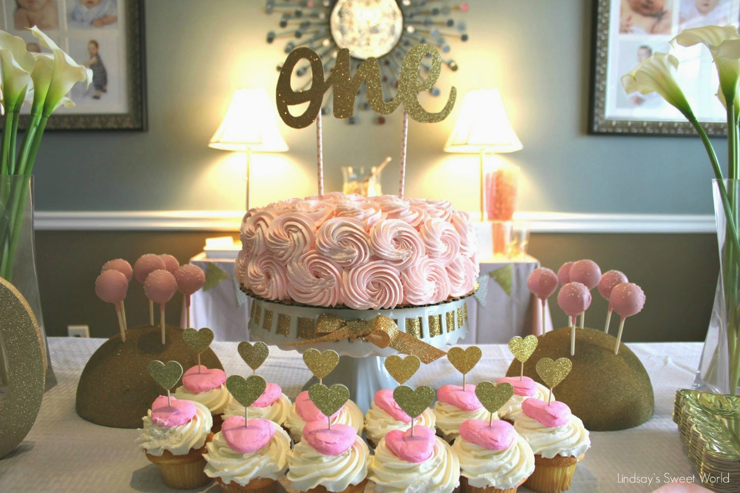Lindsays Sweet World Olivia Cates Pink Gold First Birthday