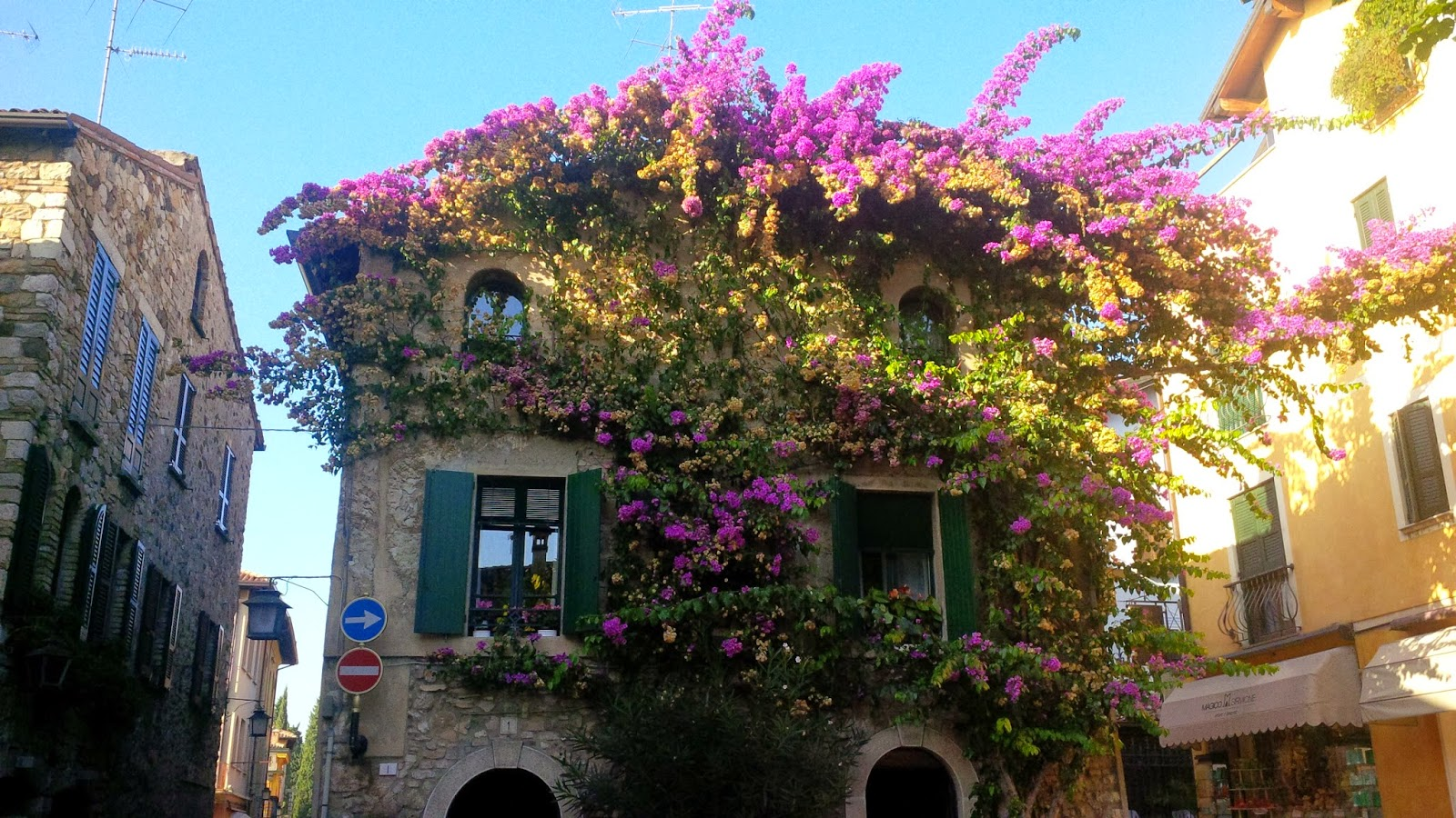 A fabulous covered in a flowering bush house in Sirmione
