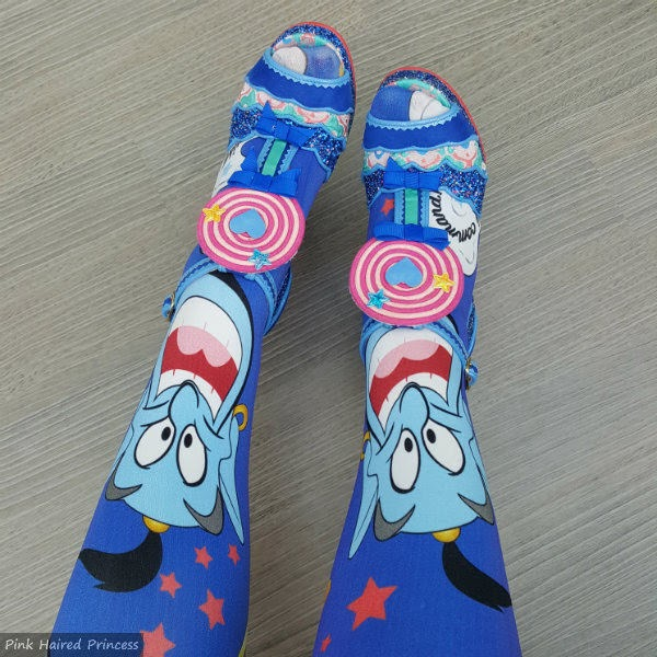 blue tights with Genie magic lam print on legs
