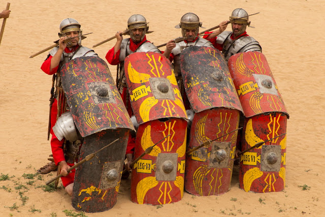 Representación de una formación de defensa romana en el hipódromo de Jerash