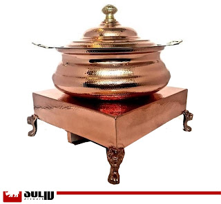 copper hammered chowki set