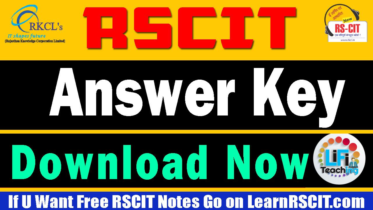 RSCIT ANSWER KEY!!😊 RSCIT Answer Key 8 September 2019