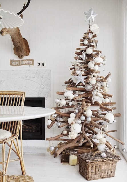 Alternative Christmas Tree Ideas Non Traditional Stacked Branches Monochromatic Trees White