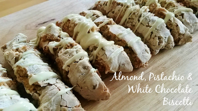 Almond Pistachio and White Chocolate Biscotti on board