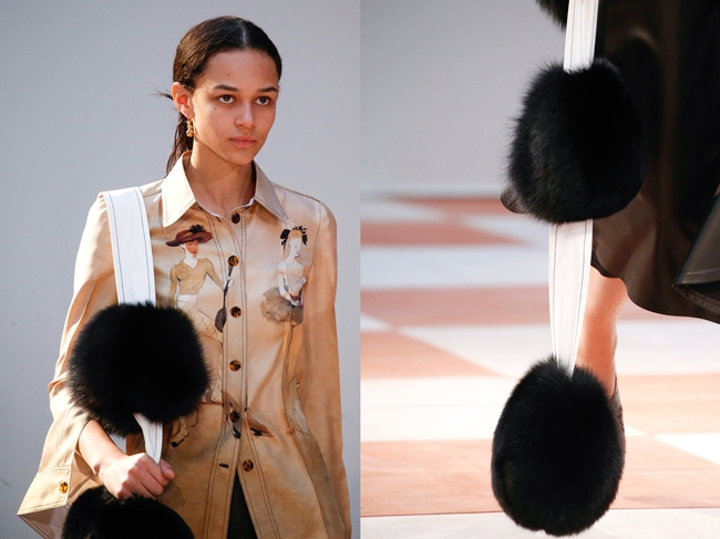 Céline 2015 AW Big Fur Pompoms Scarf on Runway