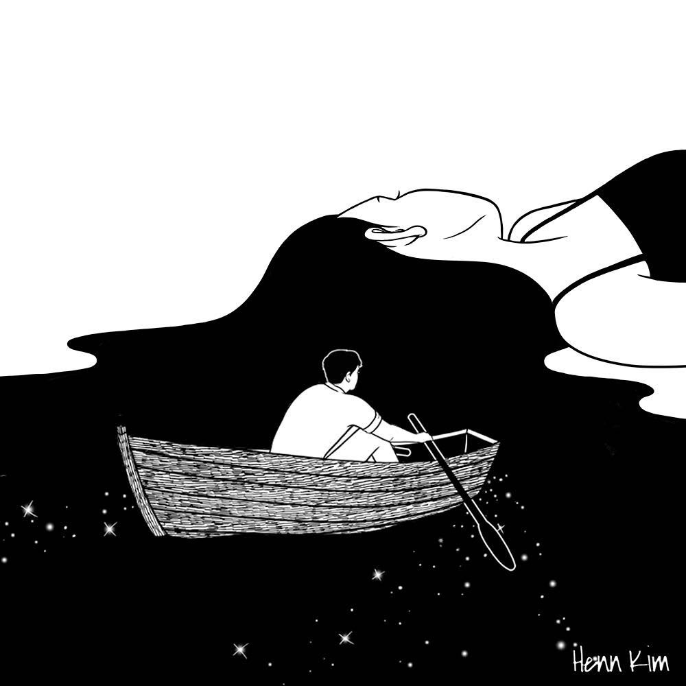 05-Rowing-to-you-Henn-Kim-Surrealism-Black-and-White-Symbolic-Illustrations-www-designstack-co