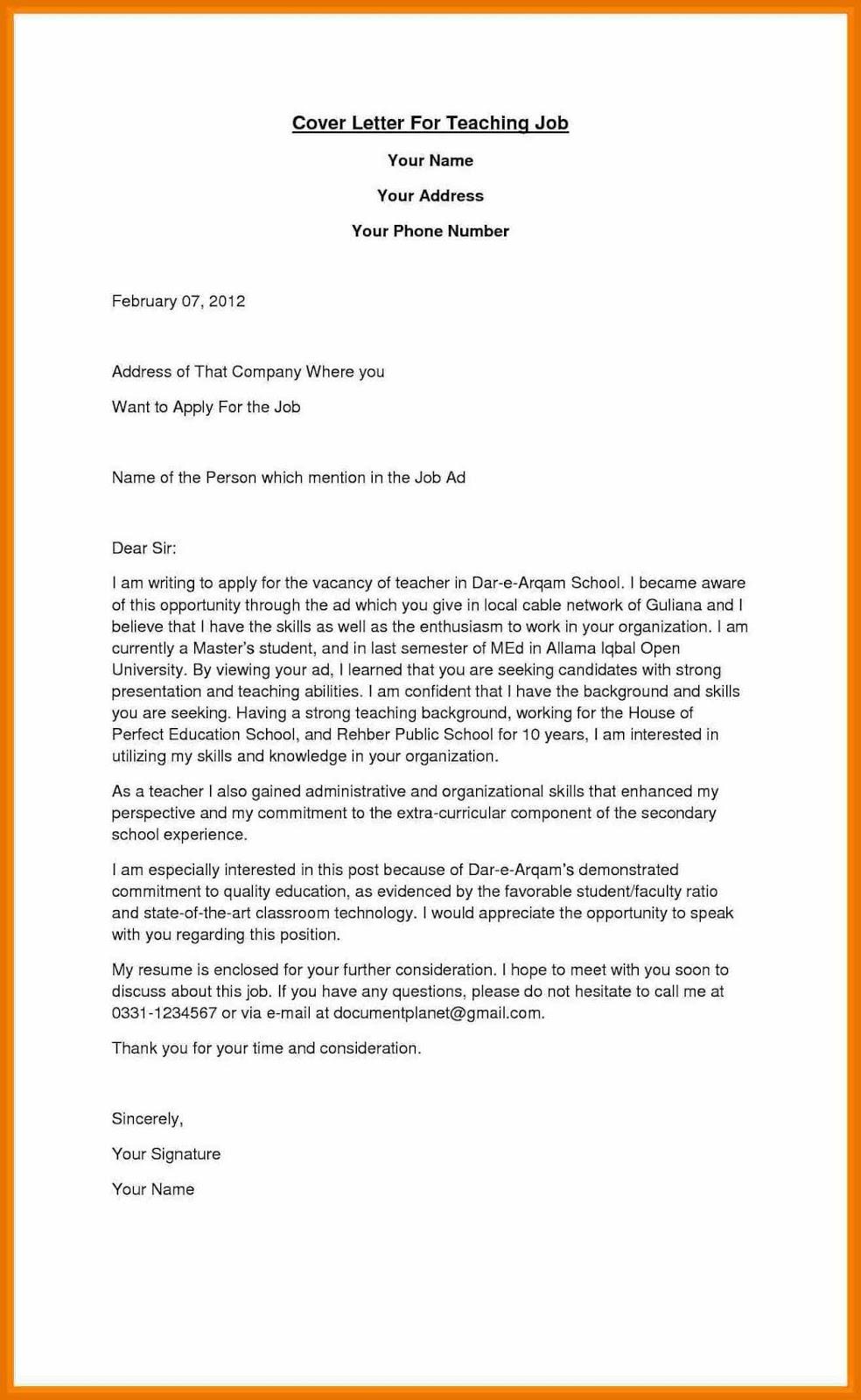 16+ Job Application Letter for Teacher Templates - PDF, DOC | Free & Premium Templates