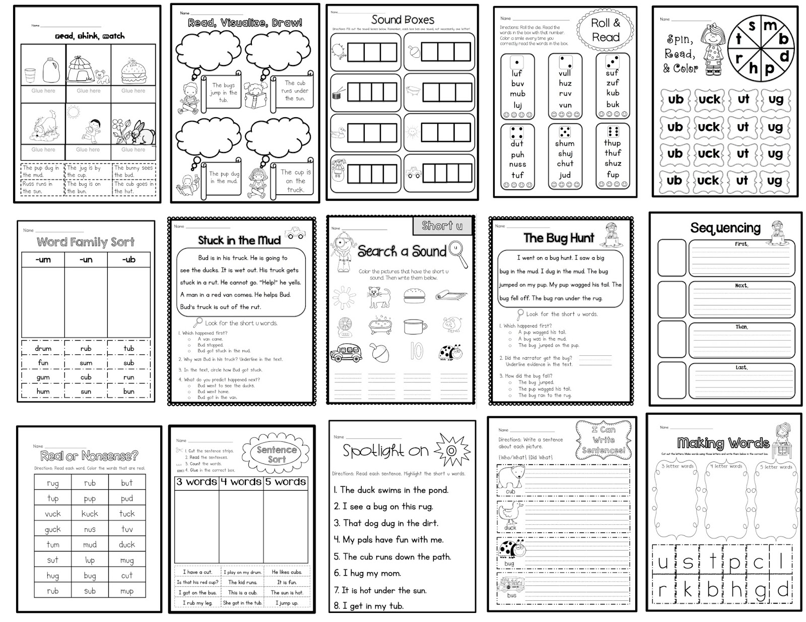 Sarah's First Grade Snippets: Common Core Aligned Short u