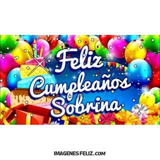 Cartel Feliz Cumpleaños Sobrina con muchos colores para imprimir