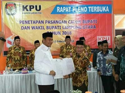KPU Lampung Utara Tetapkan 3 Pasangan Calon Bupati dan Wakil Bupati