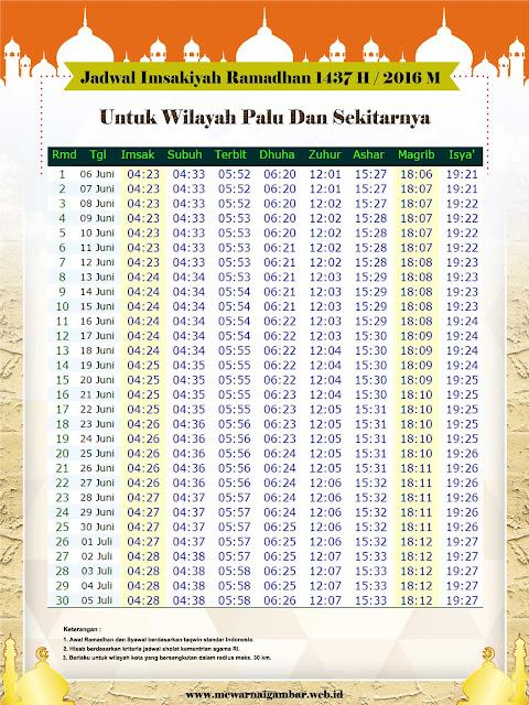 Jadwal Imsakiyah Palu 2016 1437 H
