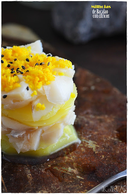 Milhojas de bacalao con cítricos