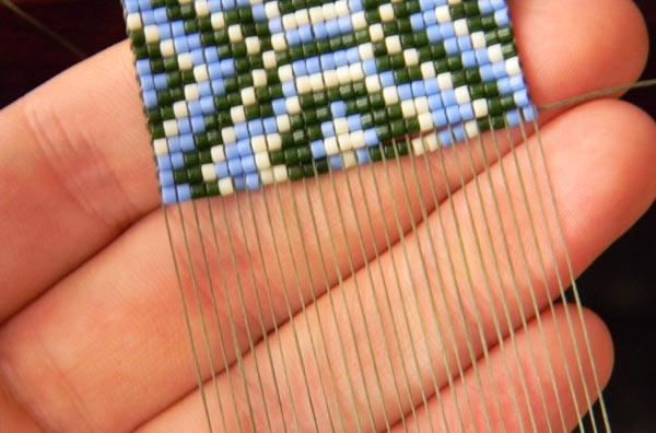 украшения из бисера от Anabel широкий этно браслет из бисера