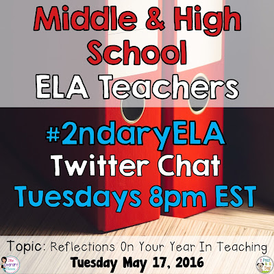 Join secondary English Language Arts teachers Tuesday evenings at 8 pm EST on Twitter. This week's chat will focus on reflecting on your year in teaching in the ELA classroom.