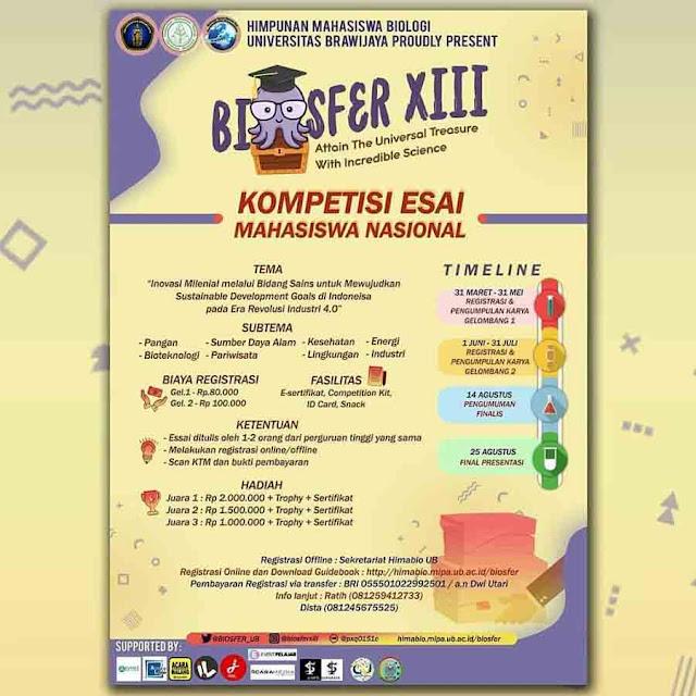 Kompetisi Essay Mahasiswa Nasional Biosfer XIII 2019 Terbaru