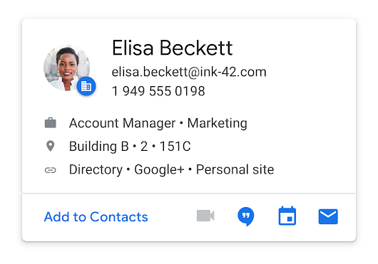 See people's profile information in new cards in G Suite apps