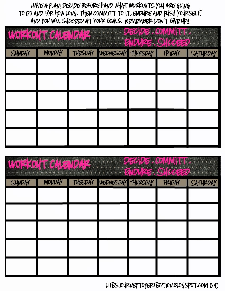 Life 39 s journey to perfection take care tuesday free for Exercise calendar template free