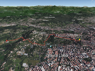 Route from the Funicolare Station to Astino Abbey