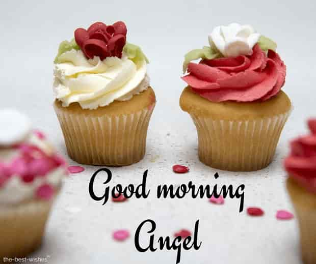 good morning angel with cupcake