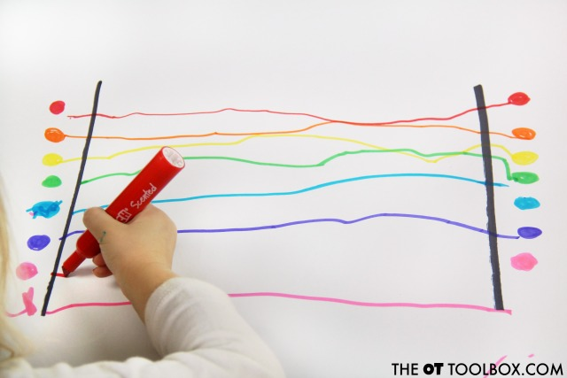 Work on visual motor integration with this rainbow visual motor activity.