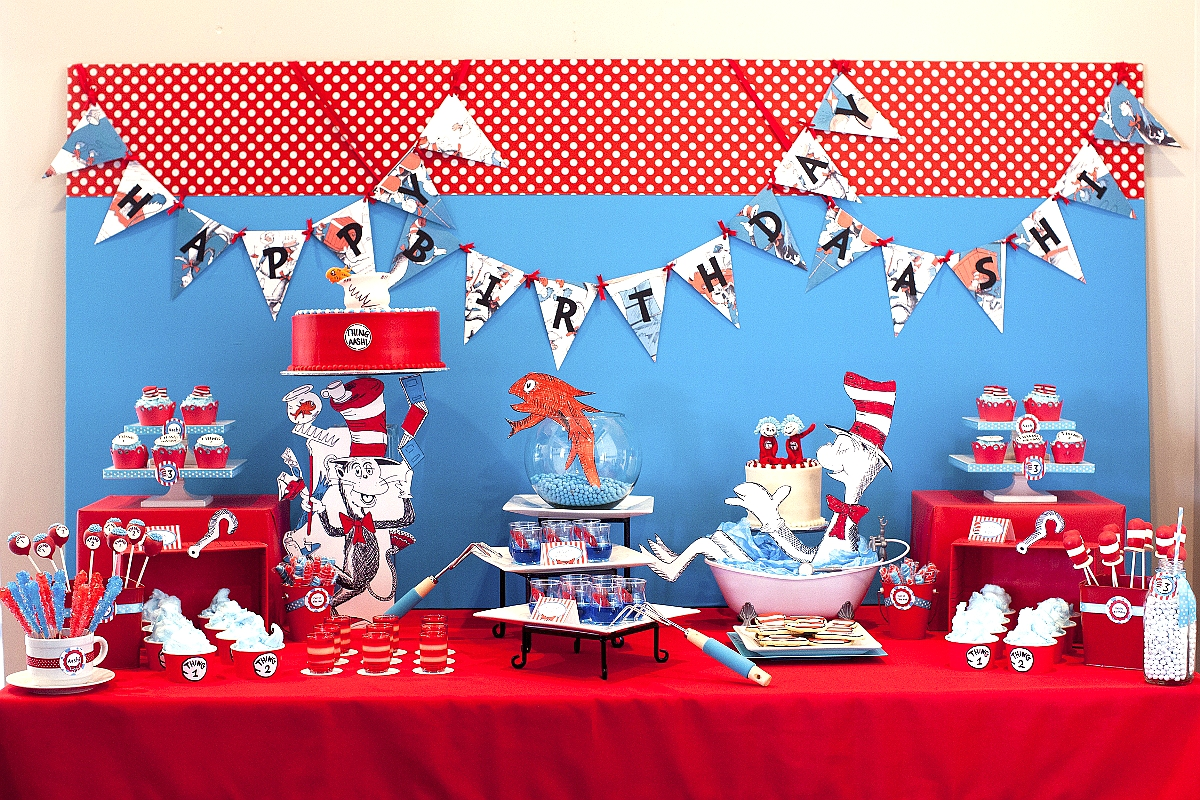 Cat in The Hat Inspired Birthday Party Desserts Table Ideas - via BirdsParty.com