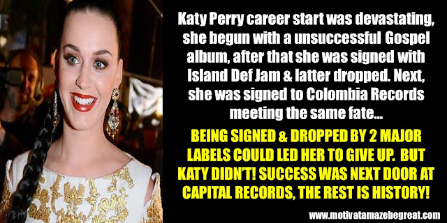 63 Successful People Who Failed: Katy Perry, Success Story, unsuccessful Gospel album, dropped by 2 major labels