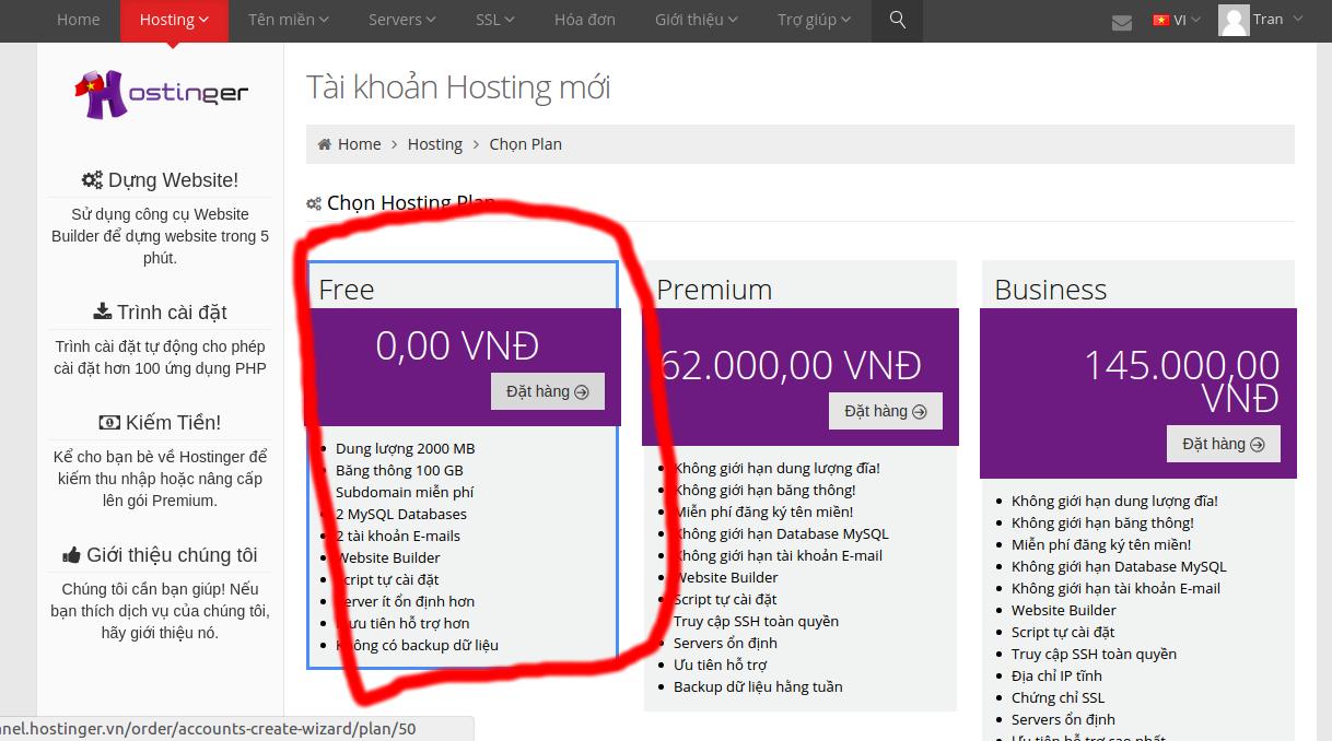 Vào mục hosting để thêm ac host mới và chọ free.