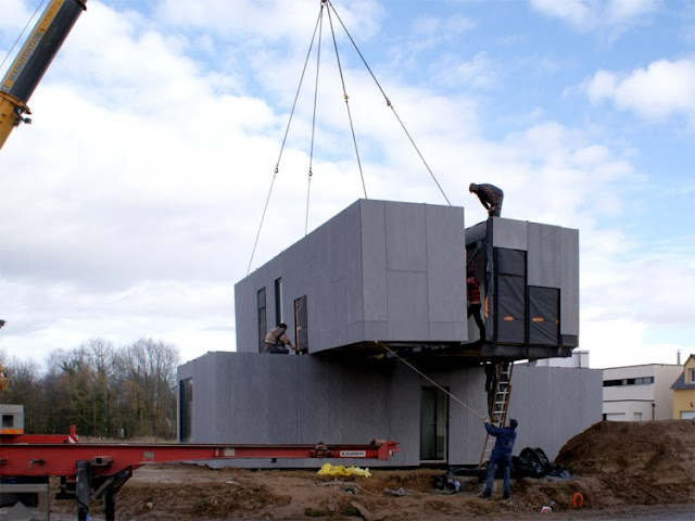constructing the cross box house made of cargo containers