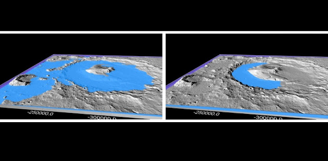 Gale Crater on surface of Mars was once filled with liquid water for 10,000 to 10 million years, according to findings from the Mars Science Laboratory (MLS). A new study from Penn State scientists suggests dramatic climate cycles may have produced warm periods long enough to thaw the planet and create the water features on the surface today.  From Topographic evidence for lakes in Gale Crater, abstract, 44th Lunar and Planetary Science Conference (2013).  Image: William Dietrich / University of California Berkley