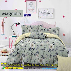 Sprei Custom Katun Lokal Dewasa Magnolia Bunga Floral Pattern Hijau Abu