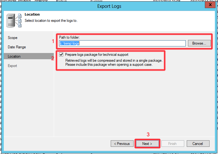 Prepare logs package for technical support.