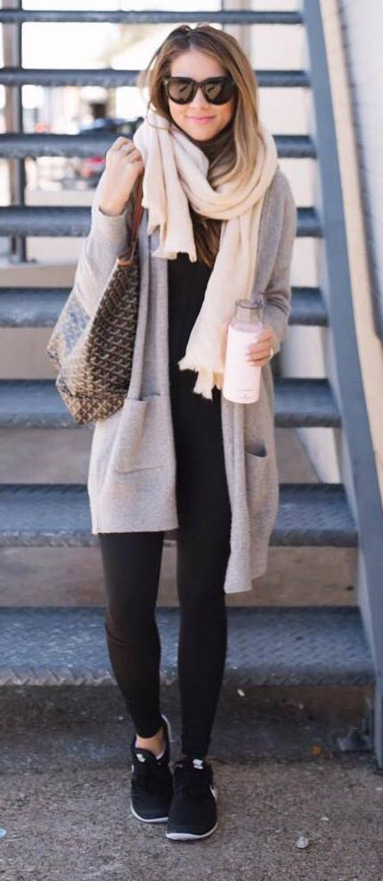 what to wear with a cardi : blush scarf + top + skinnikes + sneakers + bag