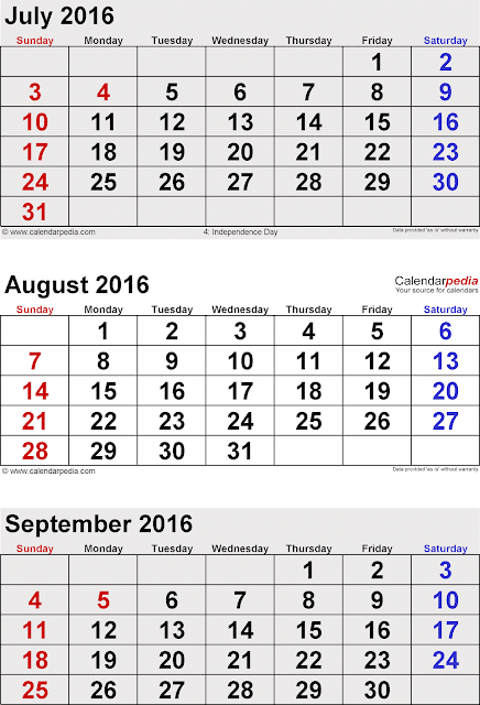 ... Printable Calendar 2016, July August September 3 Months Calendar 2016