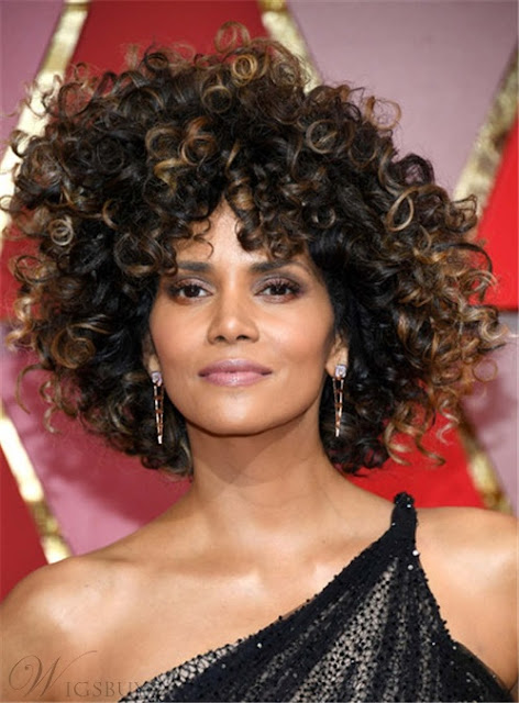 Halle Berry Mixed Color Kinky Curly Synthetic Hair With Bangs Medium Tight Coils Capless Cap Wigs 12 Inches  - Price:USD$61.57