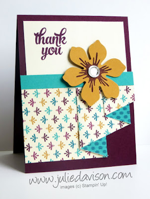 Stampin' Up! Bohemian Pleated Paper Thank You Card + VIDEO & PDF Tutorial #stampinup www.juliedavison.com
