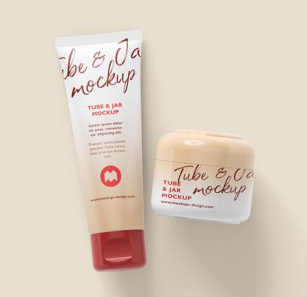 Gratis Mockup Packaging/Kemasan PSD 2018 - Cosmetic Tube and Cream Jar Mockup PSD