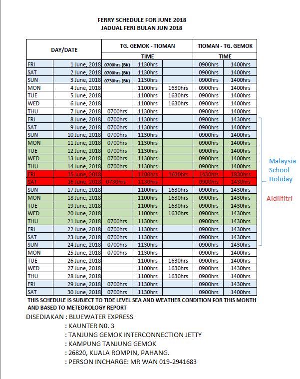 Tioman Ferry Transfer Schedule June 2018