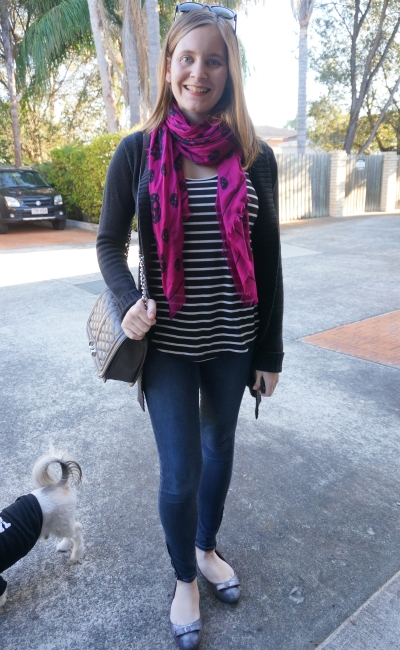 Magenta skull scarf stripes skinny jeans Winter SAHM style Rebecca Minkoff Love bag | Away From Blue