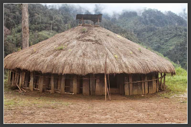 Gambar rumah honai melingkar di Papua