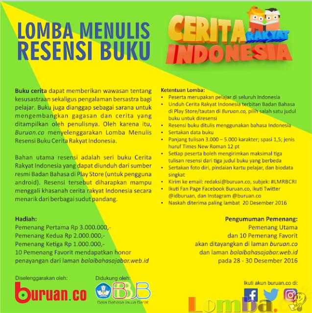 Lomba Menulis Resensi Buku Cerita Rakyat Indonesia by Buruan.co 2016