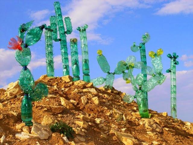 Cactus con botellas de plastico