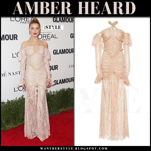 Amber Heard in blush lace dress alessandra rich what she wore red carpet
