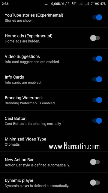 pengaturan youtube mod android