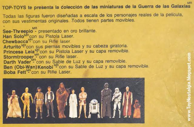 TOP TOYS back card detalle de personajes - El Regreso del Jedi - Argentina