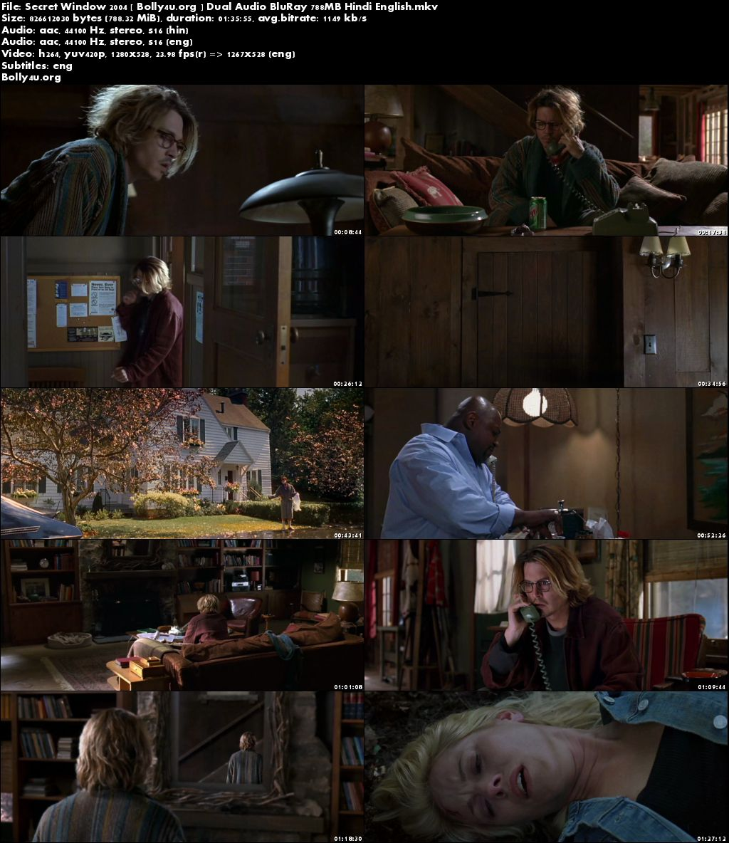 Secret Window 2004 BluRay 750Mb Hindi Dual Audio 720p Download