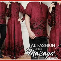 13GBCB Baju Batik Mazaya Maroon Couple Murah Bj2813
