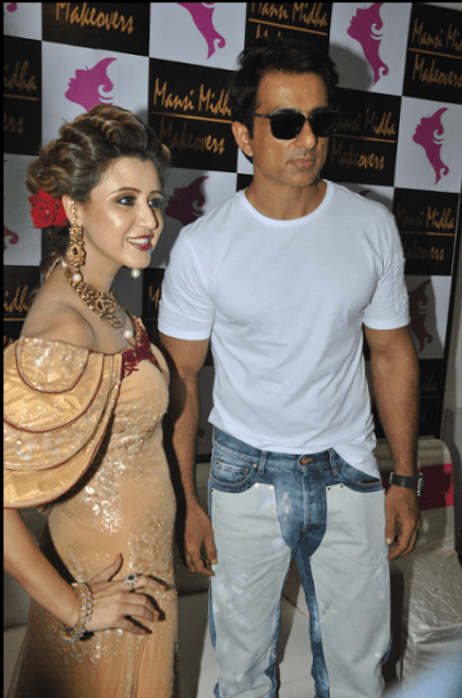 makeover artist Mansi Midha launched her new Salon and Academy on Sunday in Rajouri Garden, Delhi  Bollywood Actor Sonu Sood in the presence