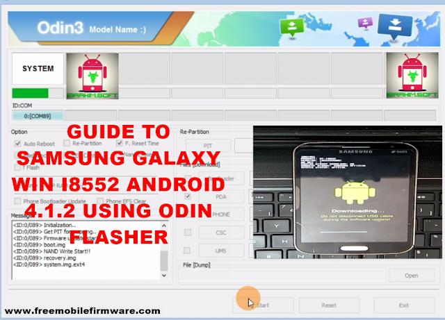 Guide To Flash Samsung Galaxy Win i8552 Kitkat 4.1.2 Odin Method